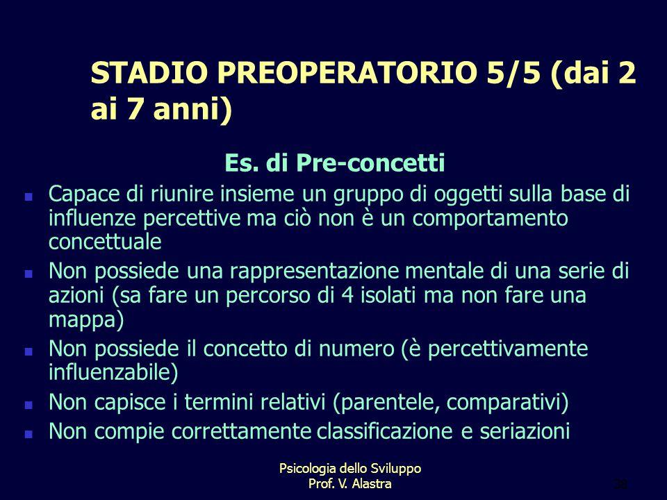 Psicologia dello Sviluppo Prof.V. Alastra38 STADIO PREOPERATORIO 5/5 (dai 2 ai 7 anni) Es.
