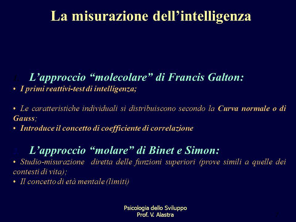 Psicologia dello Sviluppo Prof.V. Alastra7 La misurazione dell'intelligenza 1.