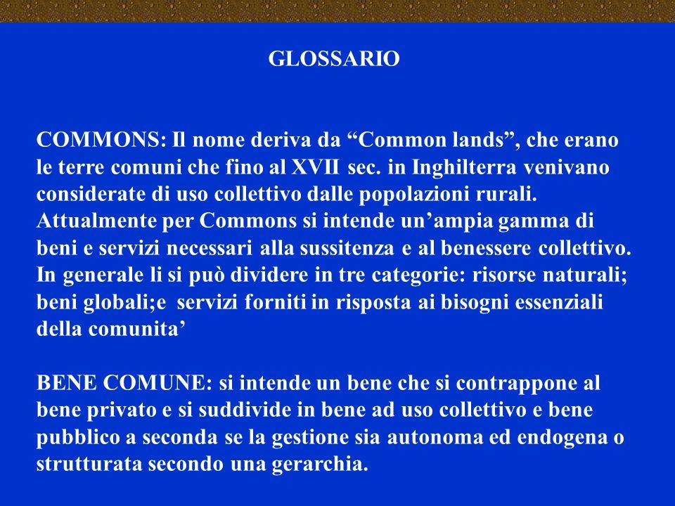 """GLOSSARIO COMMONS: Il nome deriva da """"Common lands"""", che erano le terre comuni che fino al XVII sec. in Inghilterra venivano considerate di uso collet"""