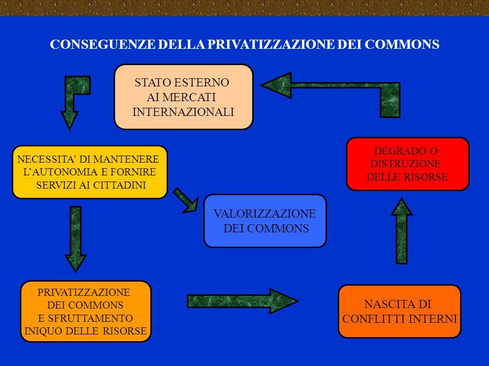 CONSEGUENZE DELLA PRIVATIZZAZIONE DEI COMMONS STATO ESTERNO AI MERCATI INTERNAZIONALI PRIVATIZZAZIONE DEI COMMONS E SFRUTTAMENTO INIQUO DELLE RISORSE