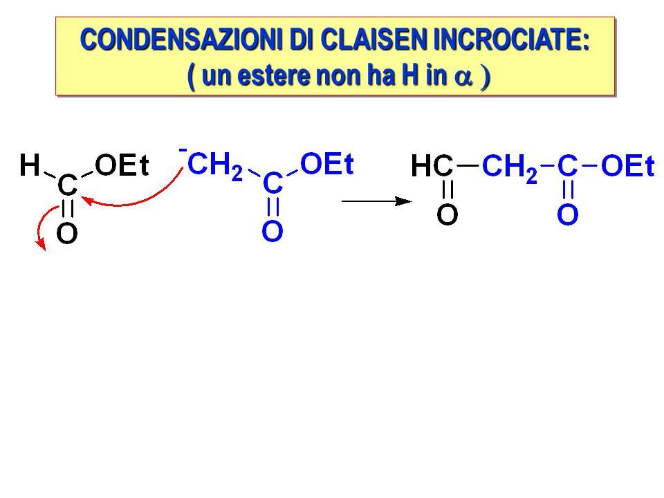 CONDENSAZIONI DI CLAISEN INCROCIATE: ( un estere non ha H in  ( un estere non ha H in  CONDENSAZIONI DI CLAISEN INCROCIATE: ( un estere non ha H