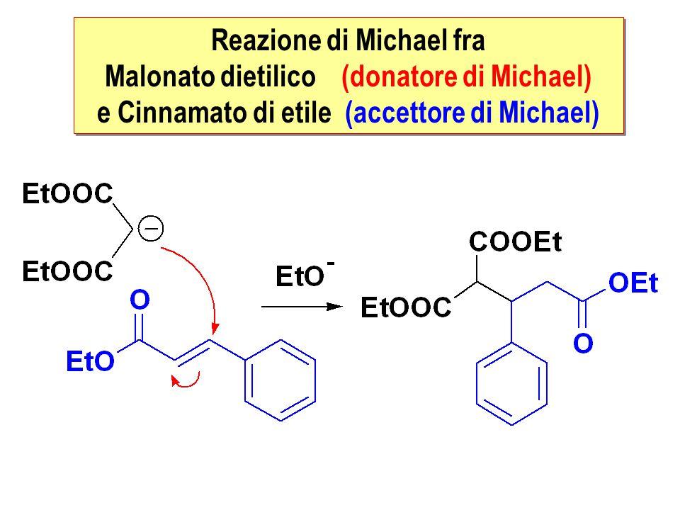 Reazione di Michael fra Malonato dietilico (donatore di Michael) e Cinnamato di etile (accettore di Michael) Reazione di Michael fra Malonato dietilic
