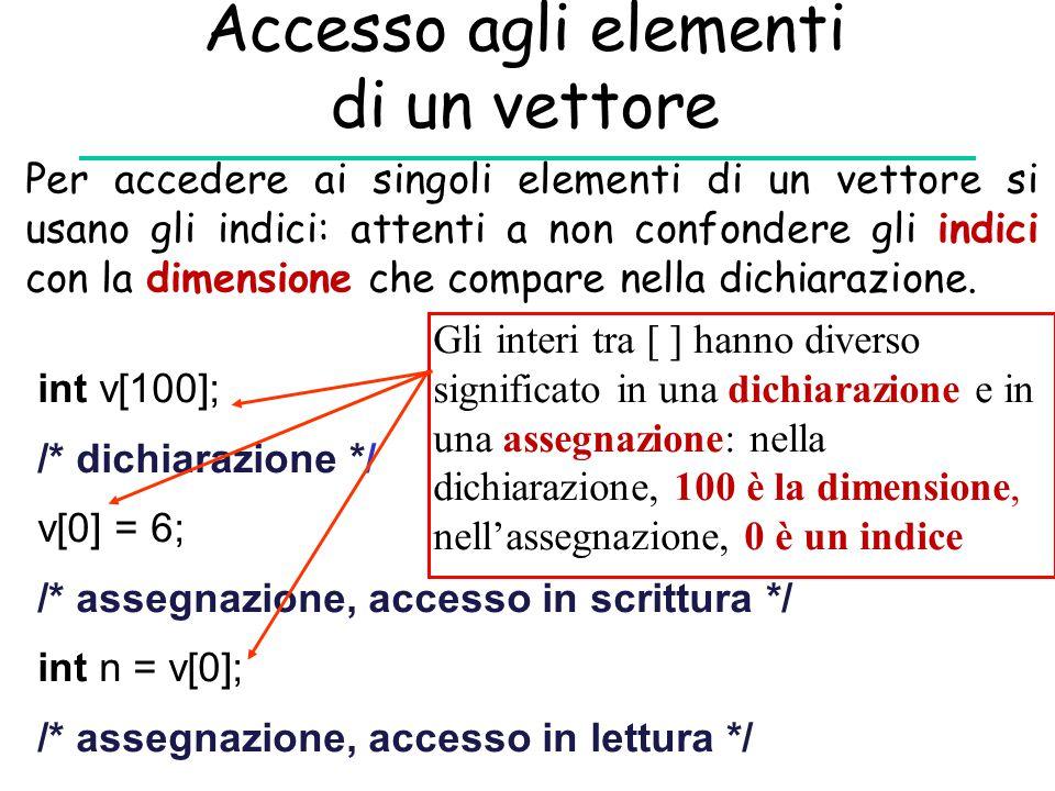 Accesso agli elementi di un vettore Per accedere ai singoli elementi di un vettore si usano gli indici: attenti a non confondere gli indici con la dim