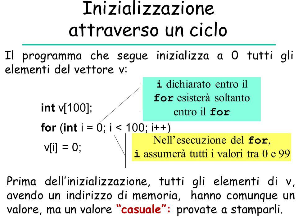 Inizializzazione attraverso un ciclo Il programma che segue inizializza a 0 tutti gli elementi del vettore v: int v[100]; for (int i = 0; i < 100; i++