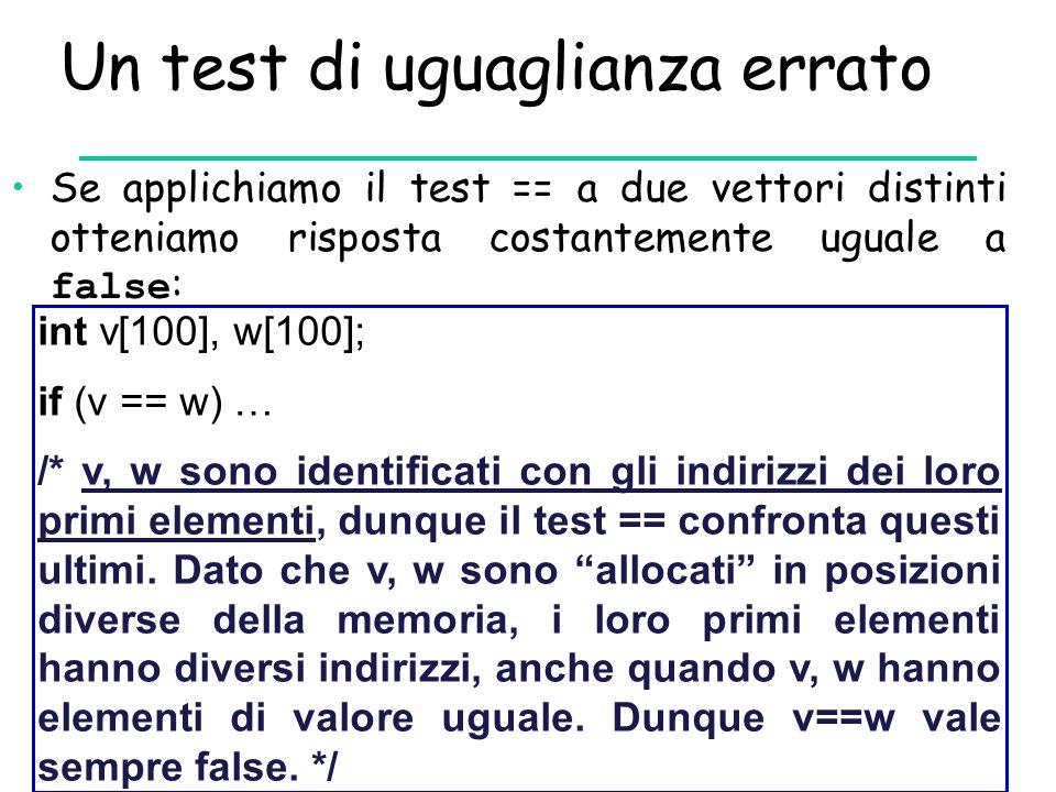 Un test di uguaglianza errato Se applichiamo il test == a due vettori distinti otteniamo risposta costantemente uguale a false : int v[100], w[100]; i
