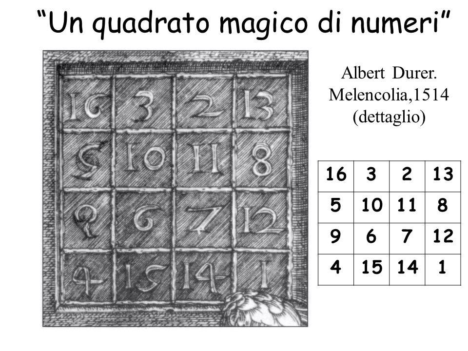 """""""Un quadrato magico di numeri"""" Albert Durer. Melencolia,1514 (dettaglio) 163213 510118 96712 415141"""