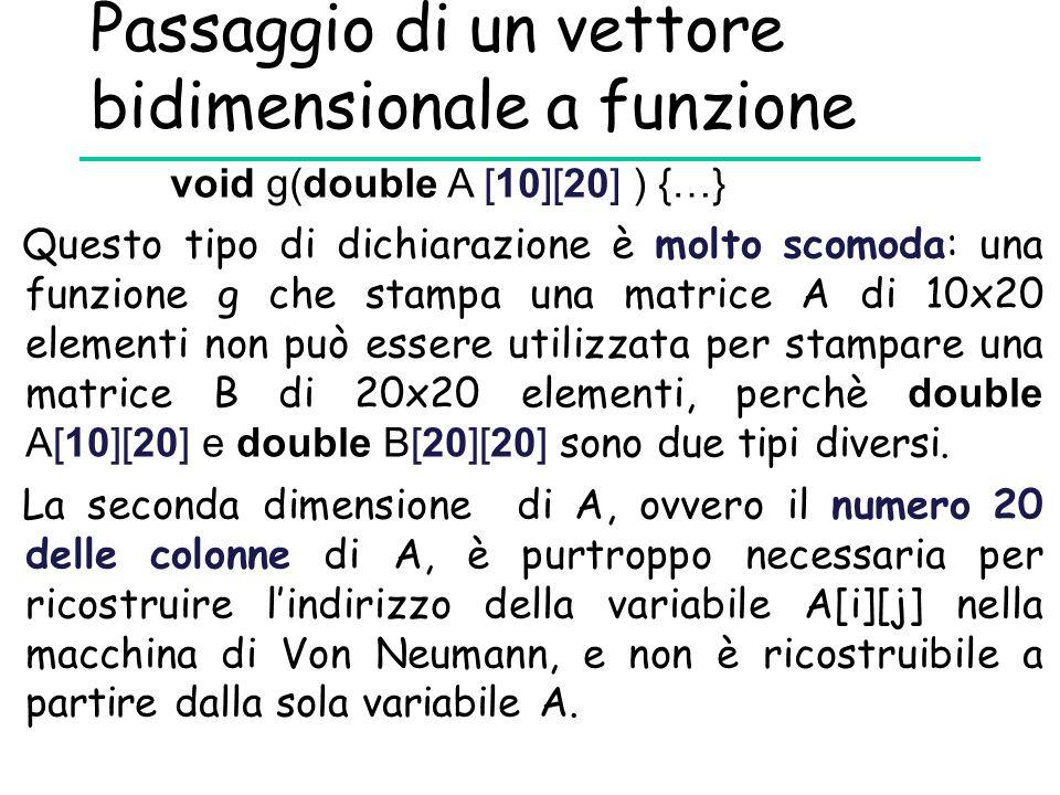 Passaggio di un vettore bidimensionale a funzione Questo tipo di dichiarazione è molto scomoda: una funzione g che stampa una matrice A di 10x20 eleme