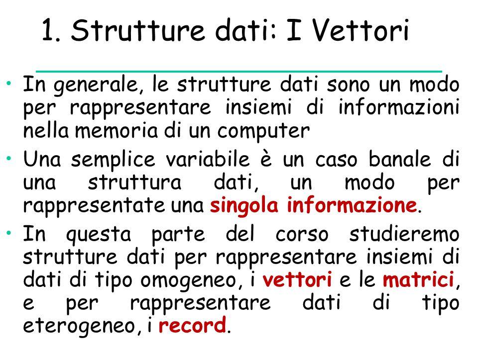 1. Strutture dati: I Vettori In generale, le strutture dati sono un modo per rappresentare insiemi di informazioni nella memoria di un computer Una se