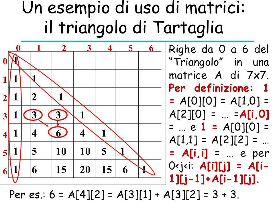 """Un esempio di uso di matrici: il triangolo di Tartaglia 1 1 1 1 2 1 1 3 3 1 1 4 6 4 1 1 5 10 10 5 1 1 6 15 20 15 6 1 Righe da 0 a 6 del """"Triangolo"""" in"""