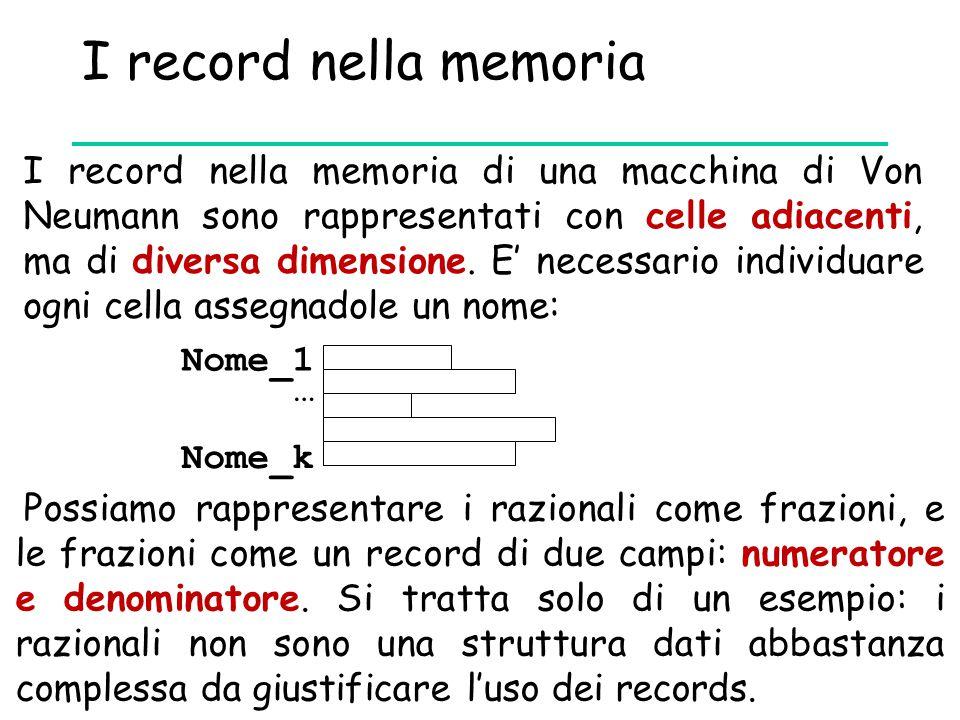 I record nella memoria I record nella memoria di una macchina di Von Neumann sono rappresentati con celle adiacenti, ma di diversa dimensione. E' nece