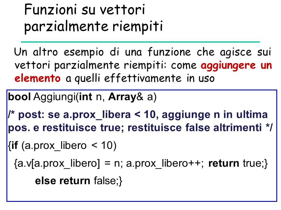 Funzioni su vettori parzialmente riempiti bool Aggiungi(int n, Array& a) /* post: se a.prox_libera < 10, aggiunge n in ultima pos. e restituisce true;