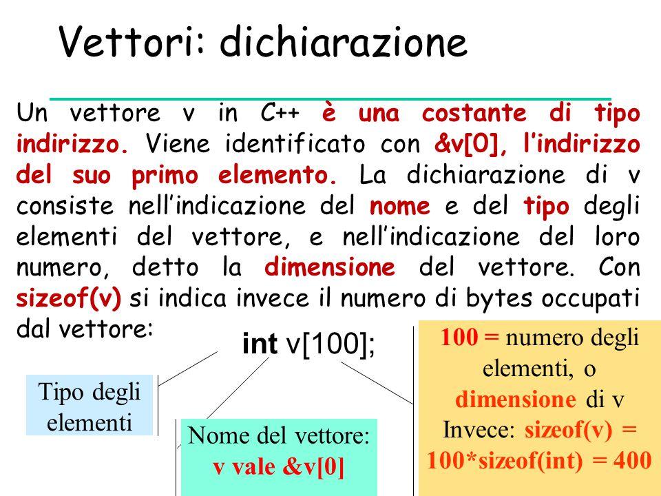 Vettori: dichiarazione Un vettore v in C++ è una costante di tipo indirizzo. Viene identificato con &v[0], l'indirizzo del suo primo elemento. La dich