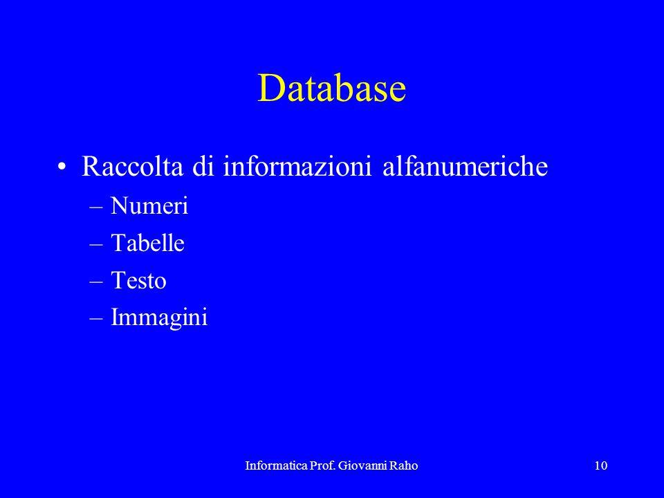 Informatica Prof. Giovanni Raho10 Database Raccolta di informazioni alfanumeriche –Numeri –Tabelle –Testo –Immagini