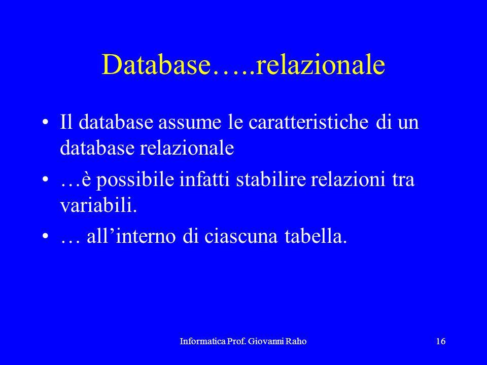 Informatica Prof. Giovanni Raho16 Database…..relazionale Il database assume le caratteristiche di un database relazionale …è possibile infatti stabili