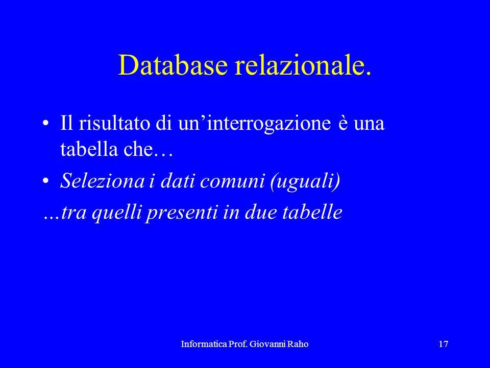 Informatica Prof. Giovanni Raho17 Database relazionale. Il risultato di un'interrogazione è una tabella che… Seleziona i dati comuni (uguali) …tra que