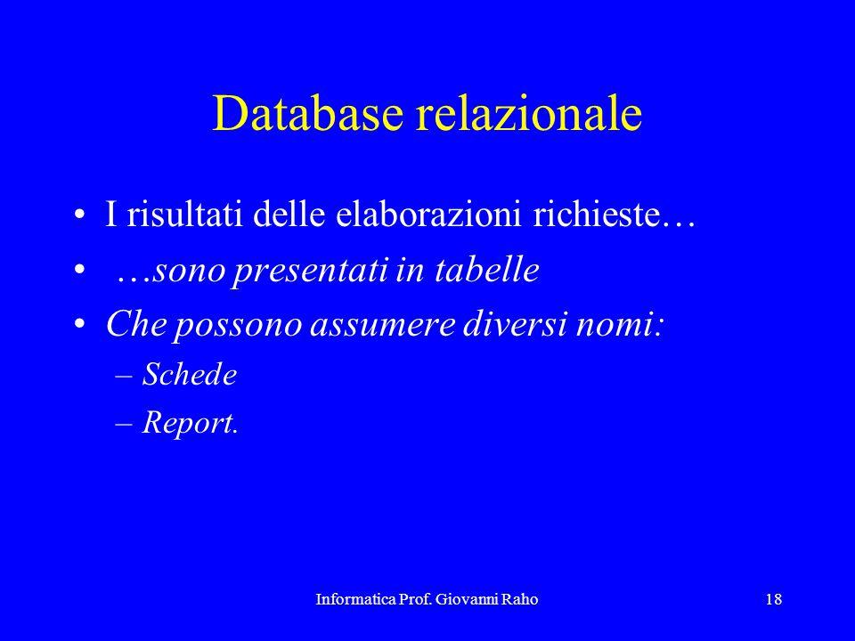 Informatica Prof. Giovanni Raho18 Database relazionale I risultati delle elaborazioni richieste… …sono presentati in tabelle Che possono assumere dive