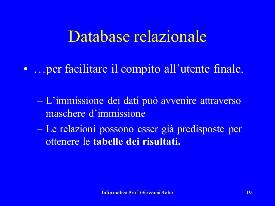 Informatica Prof. Giovanni Raho19 Database relazionale …per facilitare il compito all'utente finale. –L'immissione dei dati può avvenire attraverso ma