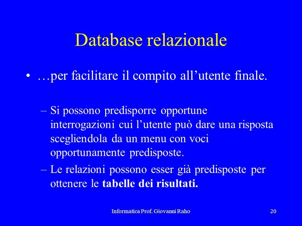Informatica Prof. Giovanni Raho20 Database relazionale …per facilitare il compito all'utente finale. –Si possono predisporre opportune interrogazioni