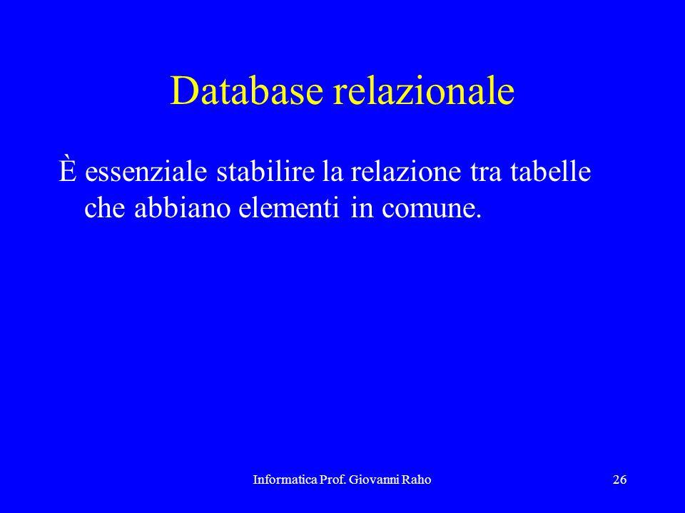 Informatica Prof. Giovanni Raho26 Database relazionale È essenziale stabilire la relazione tra tabelle che abbiano elementi in comune.