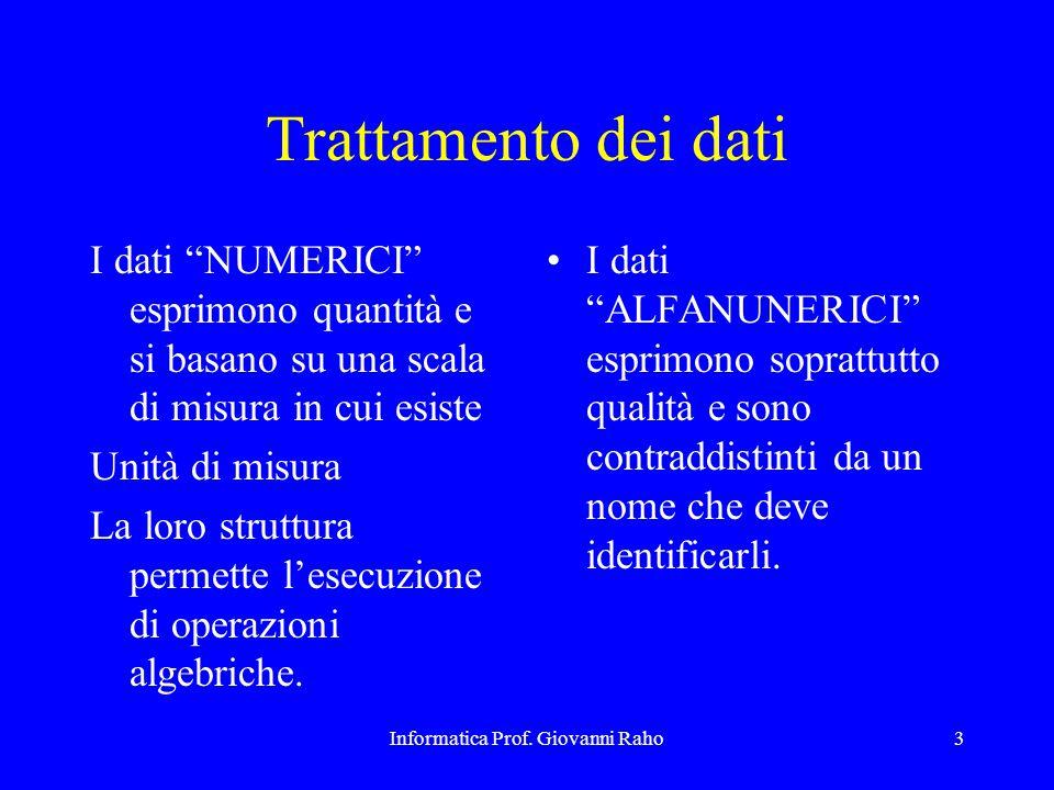 """Informatica Prof. Giovanni Raho3 Trattamento dei dati I dati """"NUMERICI"""" esprimono quantità e si basano su una scala di misura in cui esiste Unità di m"""