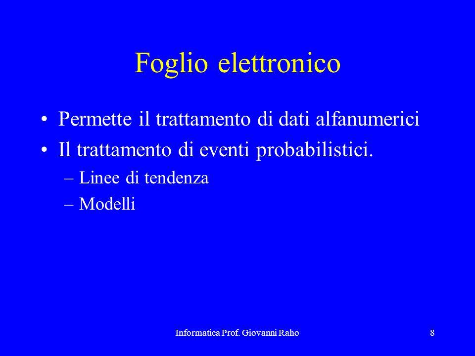 Informatica Prof. Giovanni Raho8 Foglio elettronico Permette il trattamento di dati alfanumerici Il trattamento di eventi probabilistici. –Linee di te