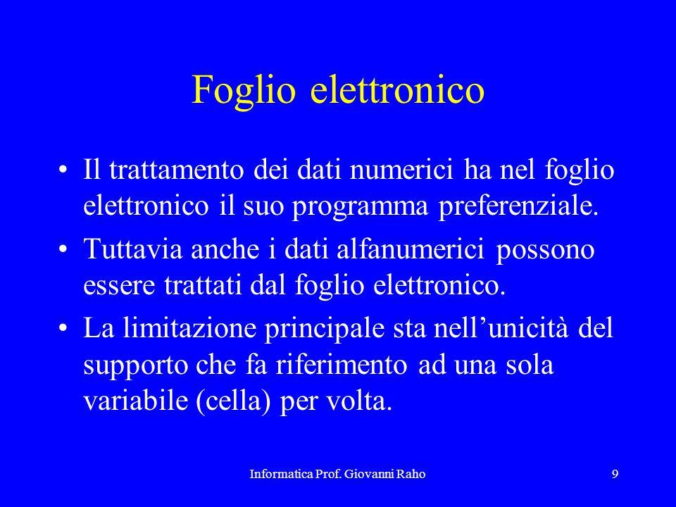Informatica Prof. Giovanni Raho9 Foglio elettronico Il trattamento dei dati numerici ha nel foglio elettronico il suo programma preferenziale. Tuttavi