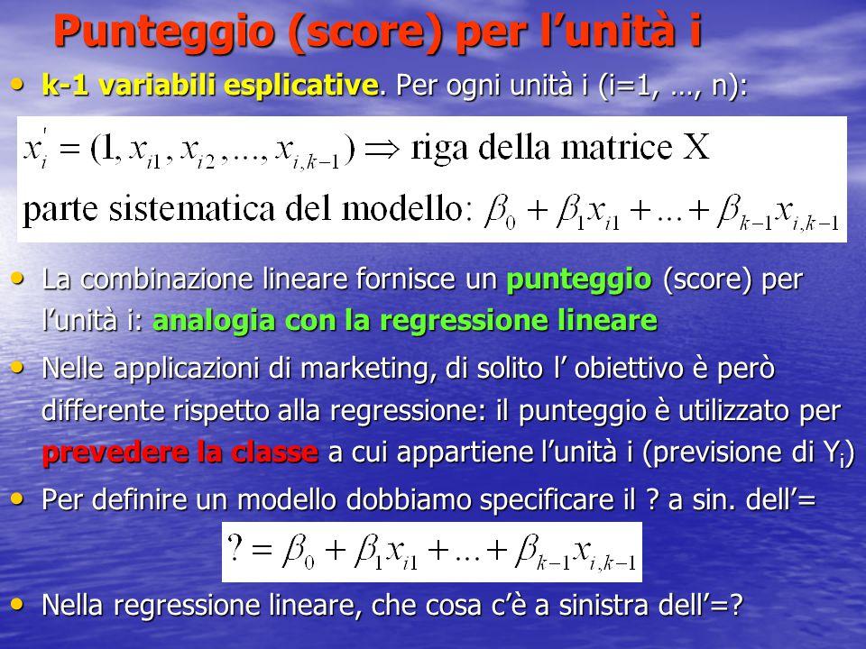 Punteggio (score) per l'unità i k-1 variabili esplicative. Per ogni unità i (i=1, …, n): k-1 variabili esplicative. Per ogni unità i (i=1, …, n): La c