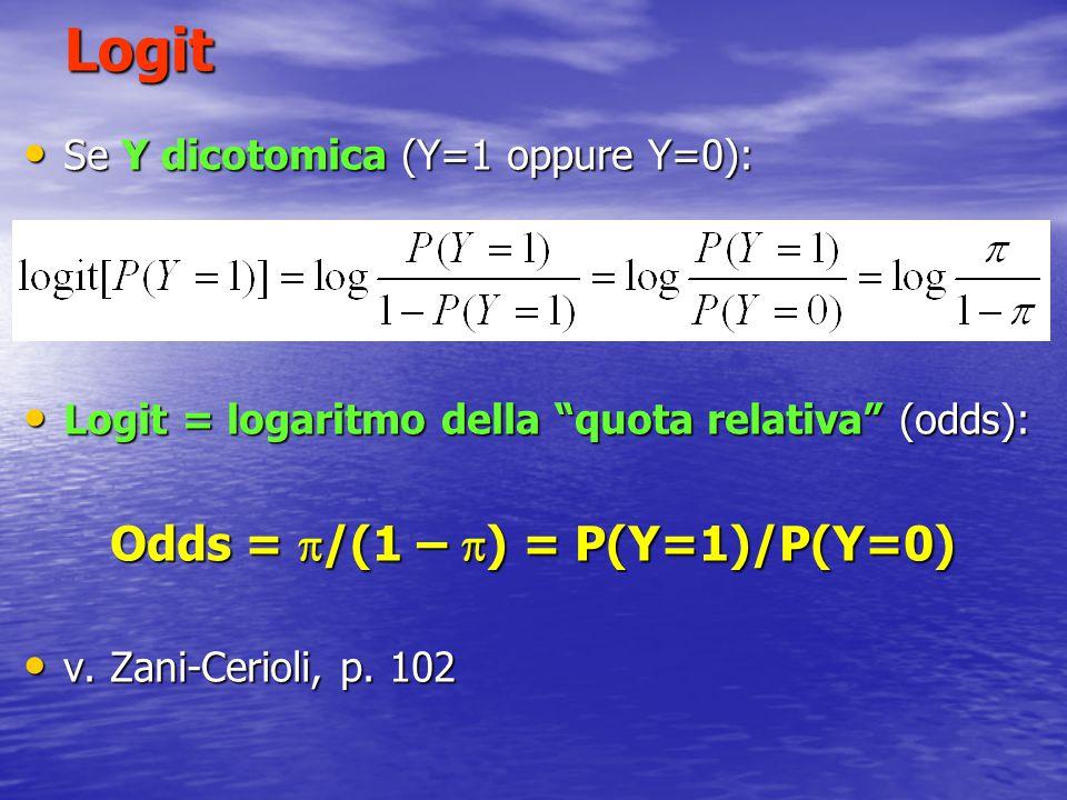 """Logit Se Y dicotomica (Y=1 oppure Y=0): Se Y dicotomica (Y=1 oppure Y=0): Logit = logaritmo della """"quota relativa"""" (odds): Logit = logaritmo della """"qu"""