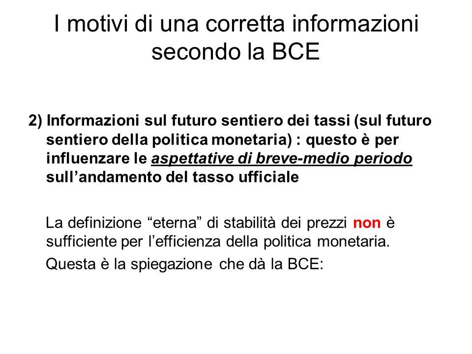 I motivi di una corretta informazioni secondo la BCE 2) Informazioni sul futuro sentiero dei tassi (sul futuro sentiero della politica monetaria) : qu