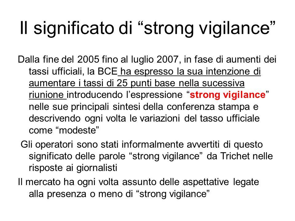 """Il significato di """"strong vigilance"""" Dalla fine del 2005 fino al luglio 2007, in fase di aumenti dei tassi ufficiali, la BCE ha espresso la sua intenz"""