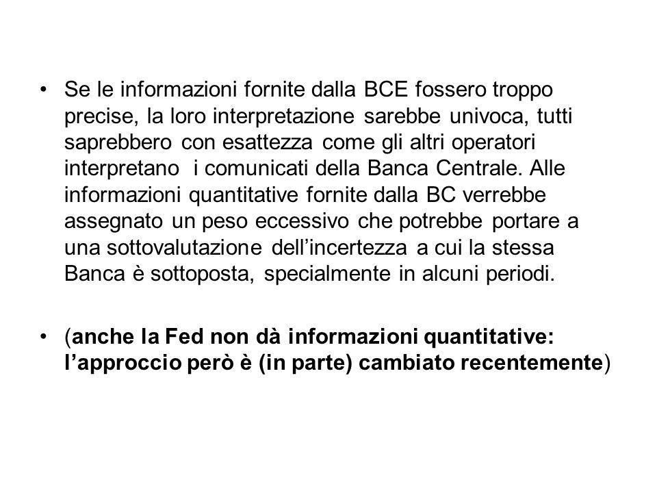 Se le informazioni fornite dalla BCE fossero troppo precise, la loro interpretazione sarebbe univoca, tutti saprebbero con esattezza come gli altri op