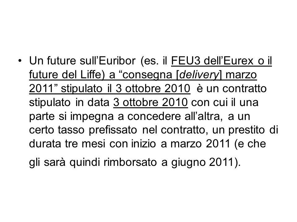 """Un future sull'Euribor (es. il FEU3 dell'Eurex o il future del Liffe) a """"consegna [delivery] marzo 2011"""" stipulato il 3 ottobre 2010 è un contratto st"""