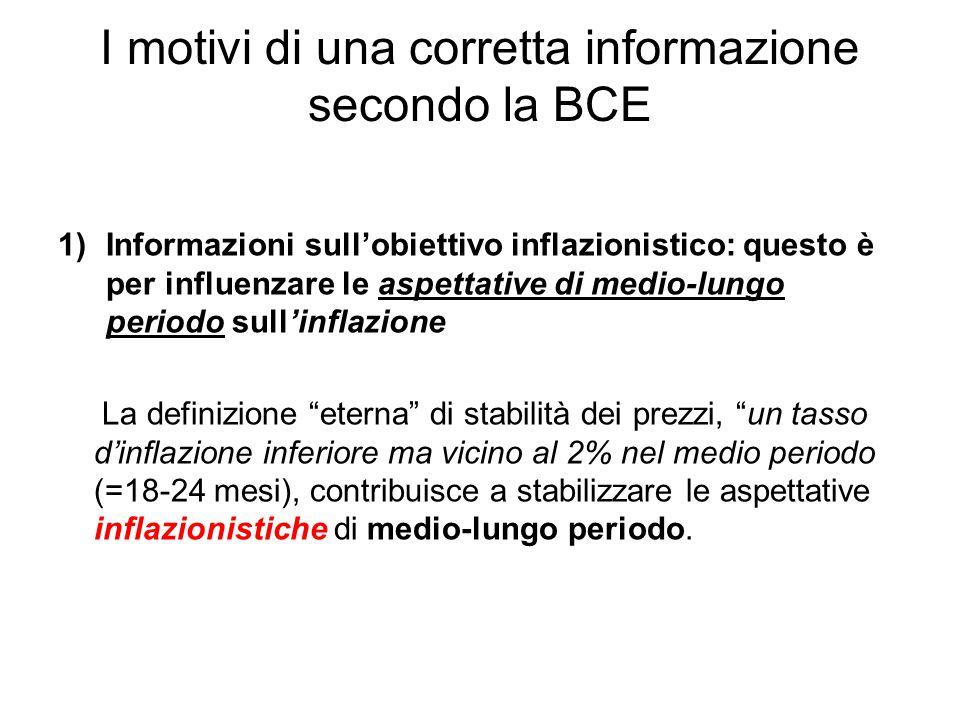I motivi di una corretta informazione secondo la BCE 1)Informazioni sull'obiettivo inflazionistico: questo è per influenzare le aspettative di medio-l