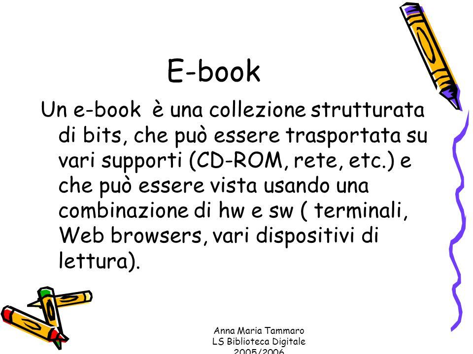 Anna Maria Tammaro LS Biblioteca Digitale 2005/2006 E-book Un e-book è una collezione strutturata di bits, che può essere trasportata su vari supporti (CD-ROM, rete, etc.) e che può essere vista usando una combinazione di hw e sw ( terminali, Web browsers, vari dispositivi di lettura).
