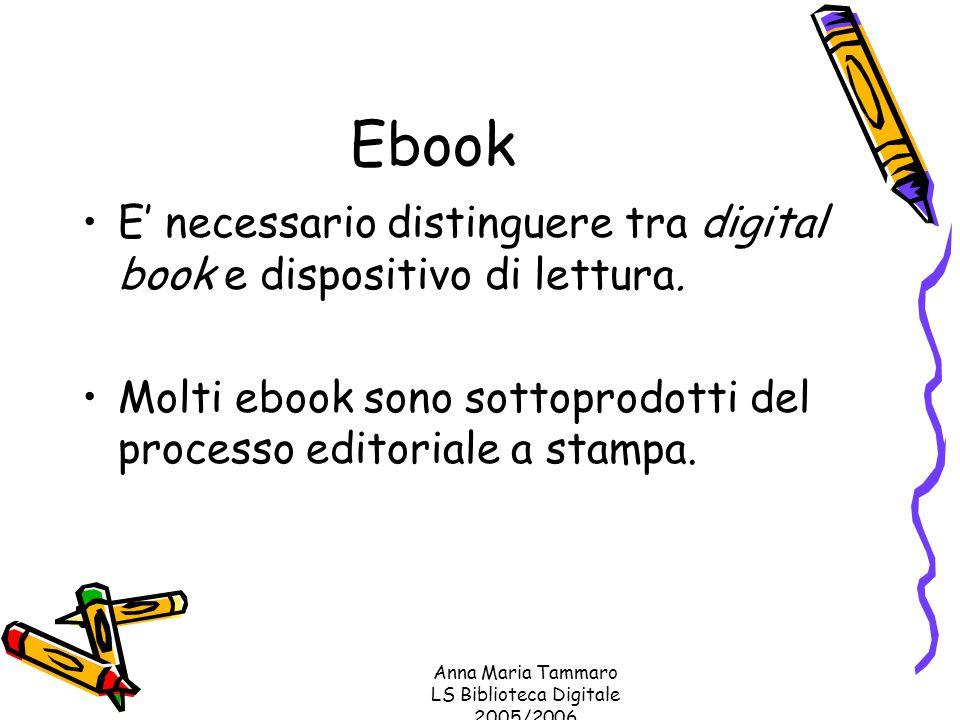 Anna Maria Tammaro LS Biblioteca Digitale 2005/2006 Ebook E' necessario distinguere tra digital book e dispositivo di lettura.