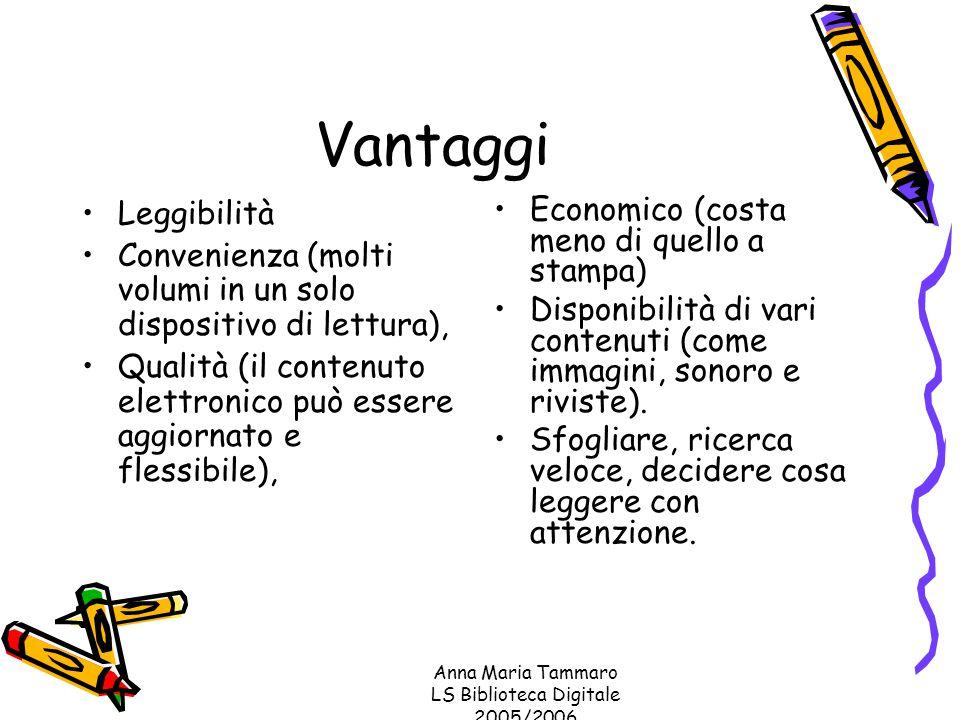 Anna Maria Tammaro LS Biblioteca Digitale 2005/2006 Vantaggi Leggibilità Convenienza (molti volumi in un solo dispositivo di lettura), Qualità (il contenuto elettronico può essere aggiornato e flessibile), Economico (costa meno di quello a stampa) Disponibilità di vari contenuti (come immagini, sonoro e riviste).