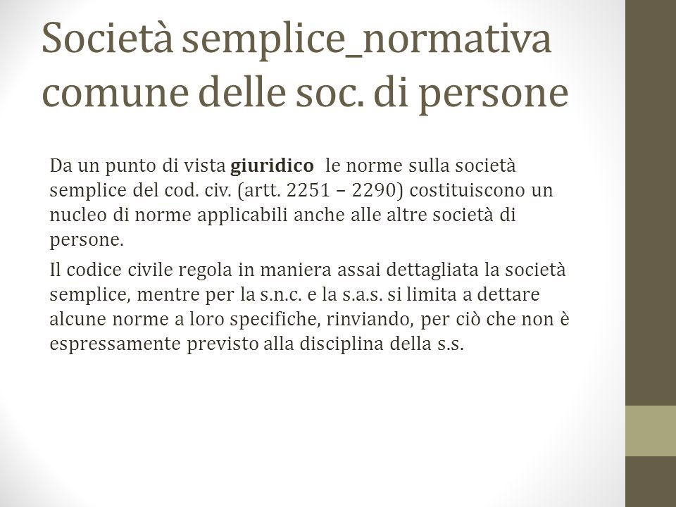 Società semplice_normativa comune delle soc.