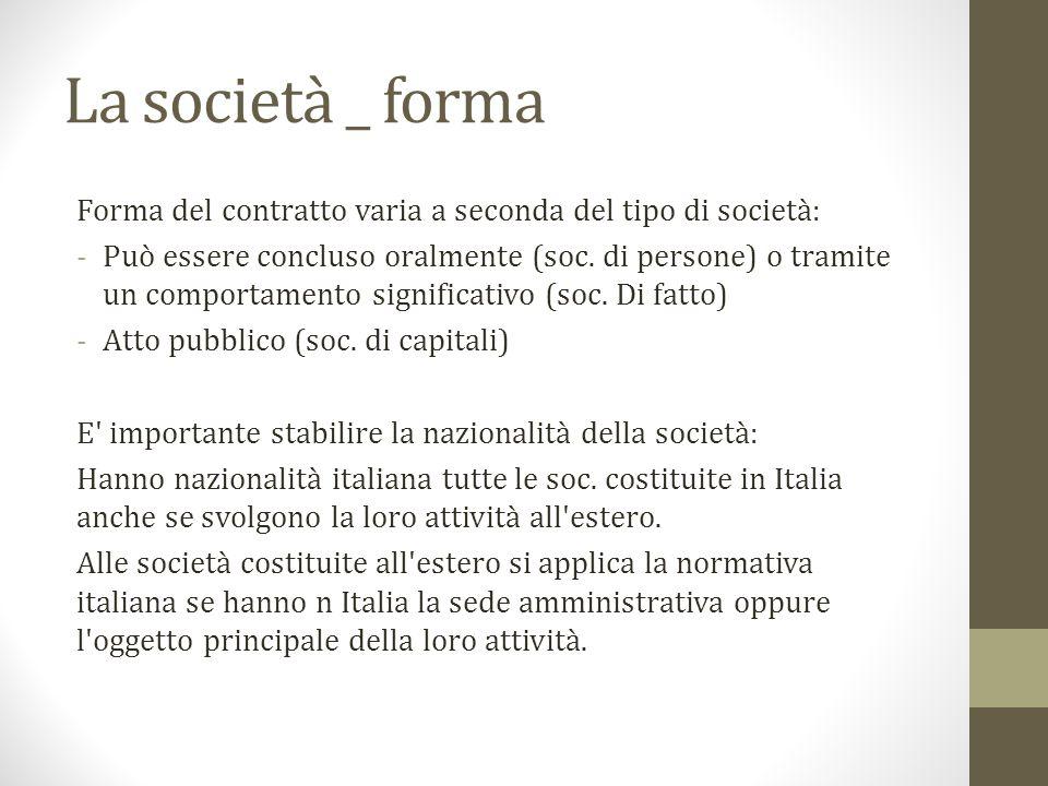 La società _ forma Forma del contratto varia a seconda del tipo di società: -Può essere concluso oralmente (soc.