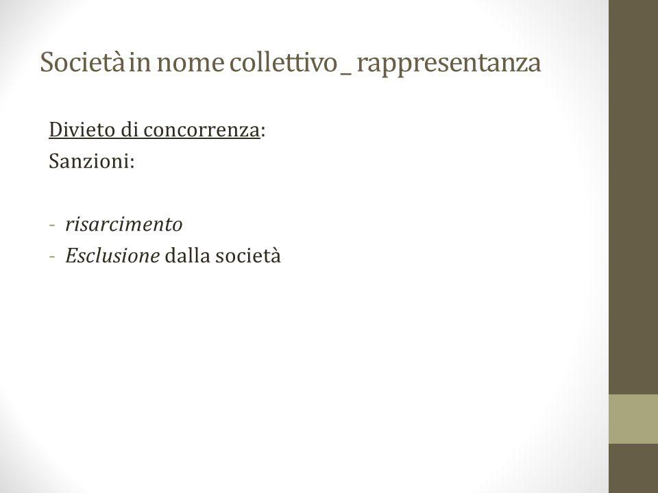 Società in nome collettivo _ rappresentanza Divieto di concorrenza: Sanzioni: -risarcimento -Esclusione dalla società