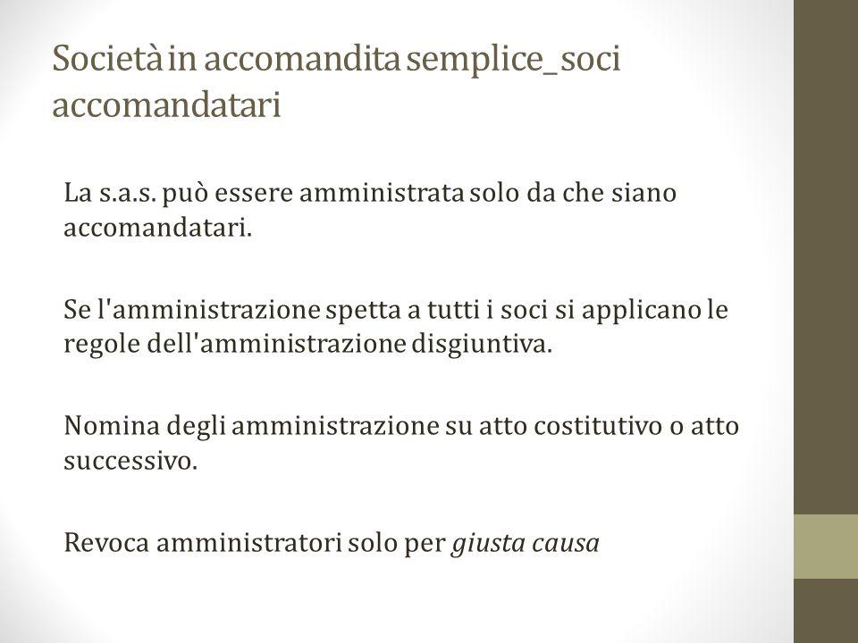Società in accomandita semplice_ soci accomandatari La s.a.s.
