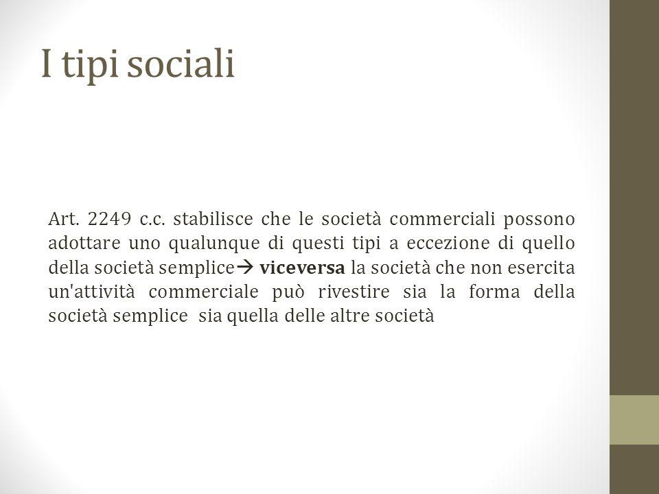 I tipi sociali Art.2249 c.c.