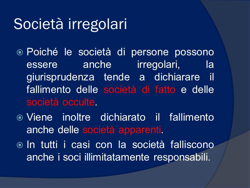 Società irregolari  Poiché le società di persone possono essere anche irregolari, la giurisprudenza tende a dichiarare il fallimento delle società di
