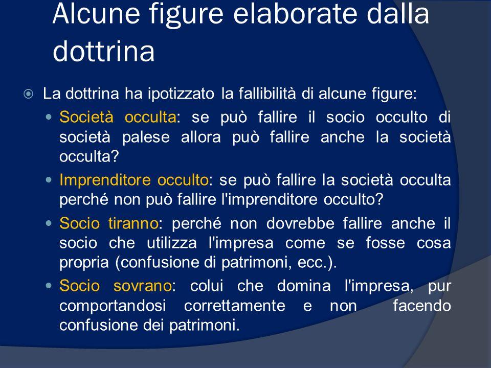  La dottrina ha ipotizzato la fallibilità di alcune figure: Società occulta: se può fallire il socio occulto di società palese allora può fallire anc