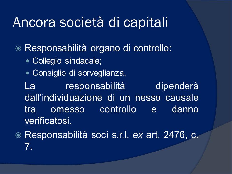 Ancora società di capitali  Responsabilità organo di controllo: Collegio sindacale; Consiglio di sorveglianza. La responsabilità dipenderà dall'indiv