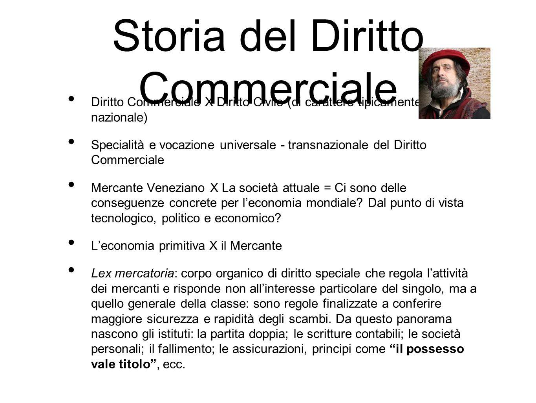 Storia del Diritto Commerciale Diritto Commerciale X Diritto Civile (di carattere tipicamente nazionale) Specialità e vocazione universale - transnazionale del Diritto Commerciale Mercante Veneziano X La società attuale = Ci sono delle conseguenze concrete per l'economia mondiale.