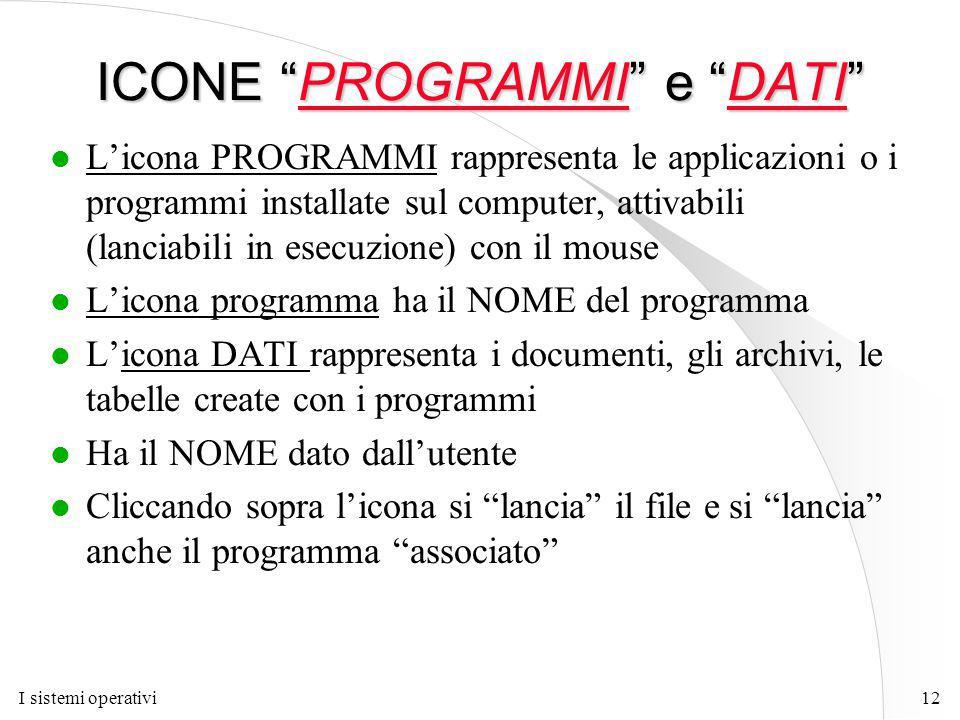 I sistemi operativi12 ICONE PROGRAMMI e DATI l L'icona PROGRAMMI rappresenta le applicazioni o i programmi installate sul computer, attivabili (lanciabili in esecuzione) con il mouse l L'icona programma ha il NOME del programma l L'icona DATI rappresenta i documenti, gli archivi, le tabelle create con i programmi l Ha il NOME dato dall'utente l Cliccando sopra l'icona si lancia il file e si lancia anche il programma associato