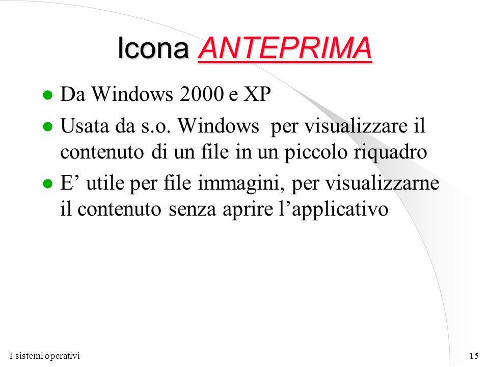 I sistemi operativi15 Icona ANTEPRIMA l Da Windows 2000 e XP l Usata da s.o.