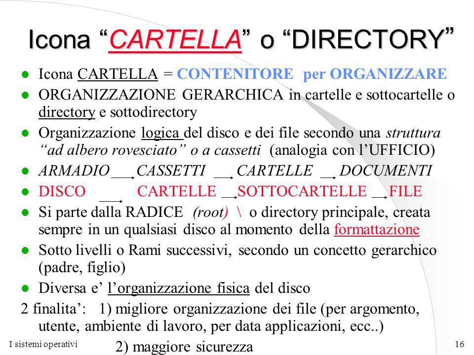 I sistemi operativi16 Icona CARTELLA o DIRECTORY l Icona CARTELLA = CONTENITORE per ORGANIZZARE l ORGANIZZAZIONE GERARCHICA in cartelle e sottocartelle o directory e sottodirectory l Organizzazione logica del disco e dei file secondo una struttura ad albero rovesciato o a cassetti (analogia con l'UFFICIO) l ARMADIO CASSETTI CARTELLE DOCUMENTI l DISCO CARTELLE SOTTOCARTELLE FILE l Si parte dalla RADICE (root) \ o directory principale, creata sempre in un qualsiasi disco al momento della formattazione l Sotto livelli o Rami successivi, secondo un concetto gerarchico (padre, figlio) l Diversa e' l'organizzazione fisica del disco 2 finalita': 1) migliore organizzazione dei file (per argomento, utente, ambiente di lavoro, per data applicazioni, ecc..) 2) maggiore sicurezza