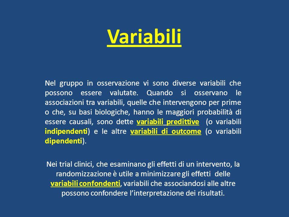 Variabili Nel gruppo in osservazione vi sono diverse variabili che possono essere valutate. Quando si osservano le associazioni tra variabili, quelle