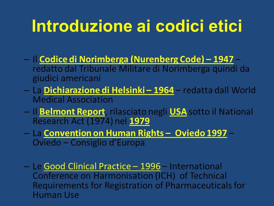 Introduzione ai codici etici – Il Codice di Norimberga (Nurenberg Code) – 1947 – redatto dal Tribunale Militare di Norimberga quindi da giudici americ